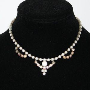 "Vintage gold white and rhinestone AB necklace 14"""